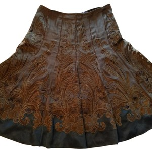 Elie Tahari Tahari Silk Embroidered Skirt Brown
