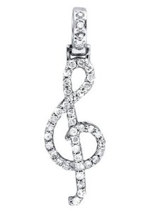 Other G Treble Clef Music Note 1.25 Inch Diamond Pendant Charm 1/2ct