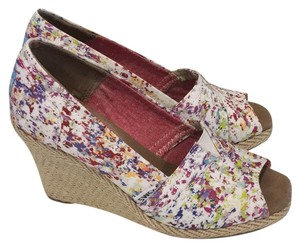 TOMS white floral multi color ( purple red orange green) Wedges
