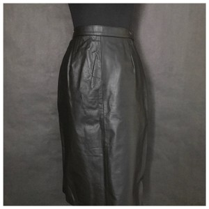 Ian Ross Leather Mini Leather Skirt Black
