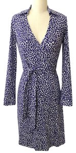 Diane von Furstenberg short dress Purple and white New Wrap on Tradesy