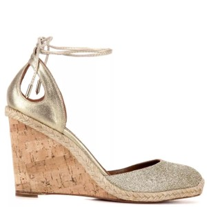 Aquazzura Gold Glitter Toe and Cork Wedge Wedges