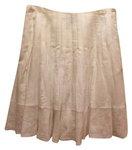 Ralph Lauren Linen Pleated Pockets Skirt white