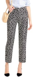 J.Crew Cropped Trousers Animal Print Straight Pants Black and White