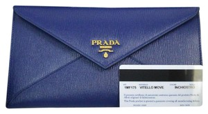 Prada Wallet Envelope Calfskin Textured Purple Blue Clutch