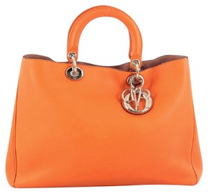 Dior Christian Leather Tote in Orange