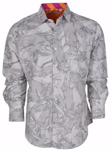 Robert Graham Shirt Men's Men's Shirt Button Down Shirt Ottoman Law/Grey