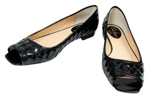 Cole Haan Leather Patent Leather Open Toe black Flats
