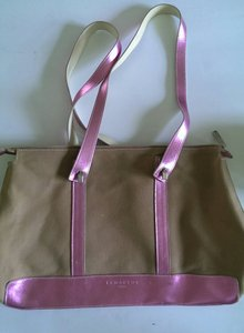 Lamarthe Leather Canvas Tote in Metallic Pink and Kachie