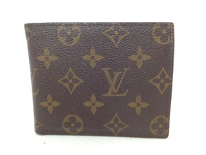 Louis Vuitton Auth Louis Vuitton Monogram Brown Leather Canvas Slim Men's Wallet