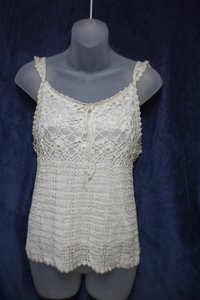 Other Crochet Sheer Pearl Accents Top Cream