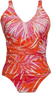 Swim Solutions Show Stopper Printed V-Neck Ruched Tummy Control Swimsuit 20