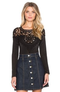 For Love & Lemons Bodysuit Top Black