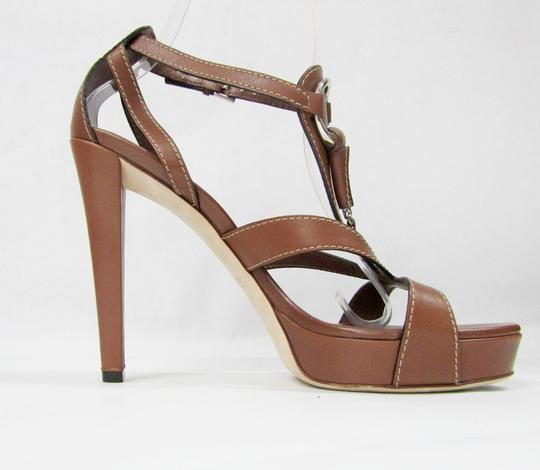 Gucci Leather Brown Buckle Strappy Platform taupe Sandals