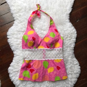 Lilly Pulitzer Pink, Green, Yellow Halter Top