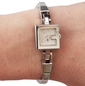 Gucci $1795 NEW Gucci Diamond Pave Dial lady stainless steel Watch YA102507