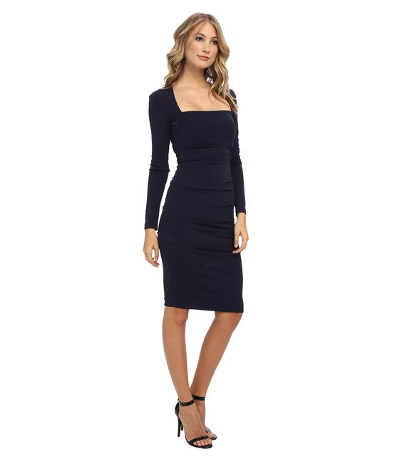 Preload https://img-static.tradesy.com/item/21152628/nicole-miller-black-long-sleeve-jersey-tuck-style-bf0633-mid-length-cocktail-dress-size-petite-2-xs-0-1-650-650.jpg