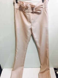 Valentino Silk Wool Blend Straight Pants Pale Pink