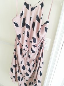 Pink, white black leaves pattern. Maxi Dress by Ann Taylor LOFT Long