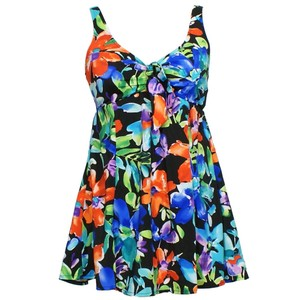 Swim Solutions Black Garden Party Floral Bow Front Swimdress Tummy Control Swimsuit 8