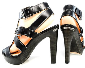 Coach Sandal Leather Strappy Contrast black Platforms
