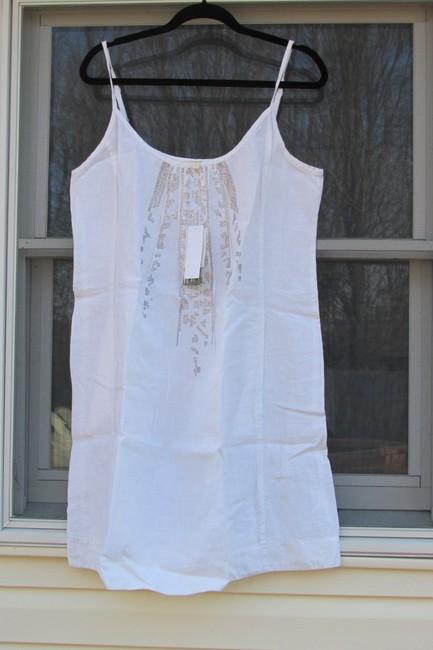 Preload https://img-static.tradesy.com/item/21152683/eileen-fisher-white-gold-cami-organic-linen-mid-length-short-casual-dress-size-14-l-0-0-650-650.jpg