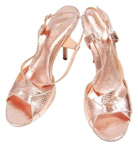 Sergio Rossi Leather Snake Embossed Metallic Pink Sandals