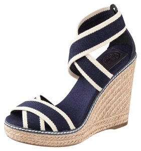 Tory Burch navy and cream Wedges