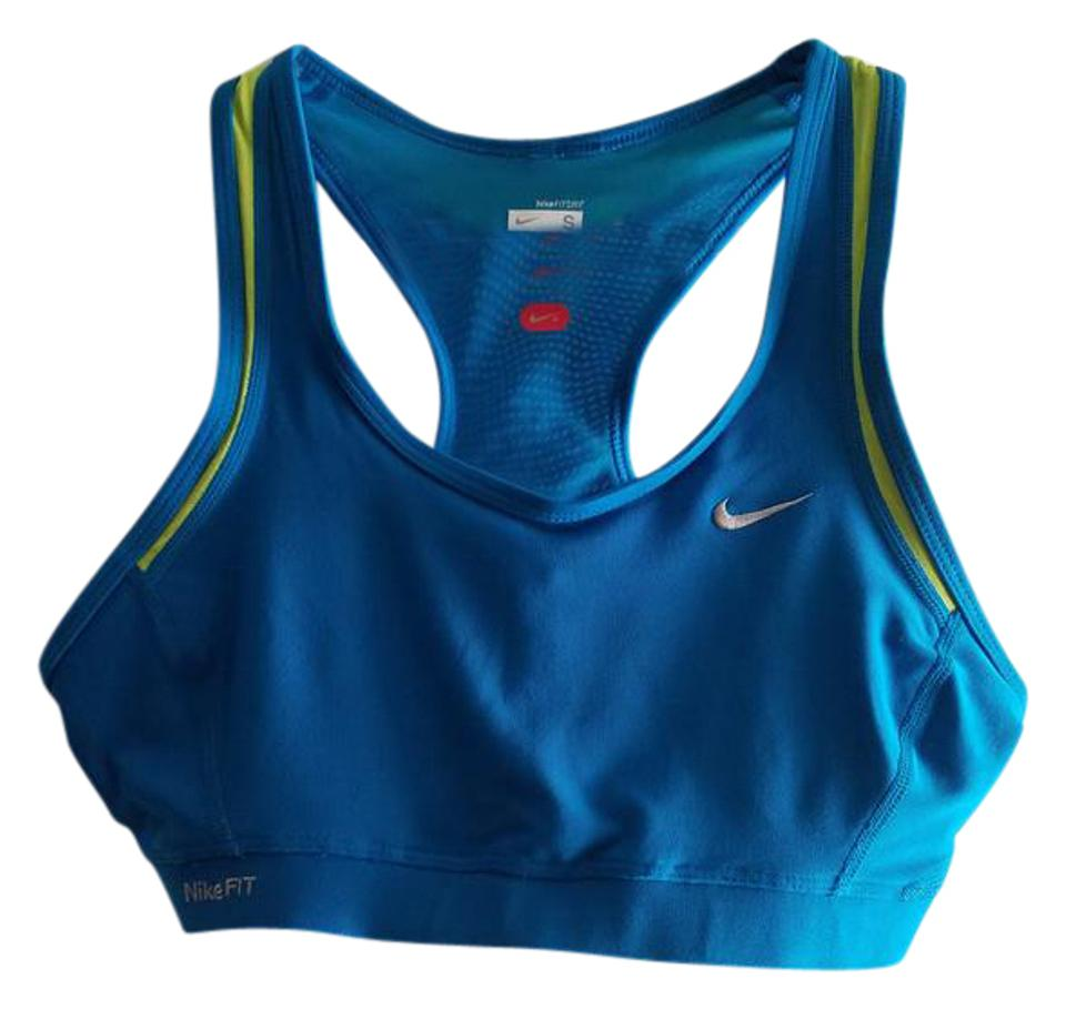 3be22ae4ae2db Nike Bright Blue   Lime Green Nikefit Activewear Sports Bra Size 4 ...