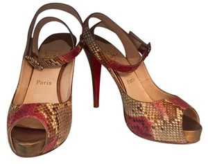 Christian Louboutin Multi Red, Gold, Beige, Brown Platforms