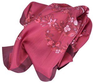 Gucci New Gucci Women's 394545 Burgundy Red GG Floral Print Silk Twill Scarf