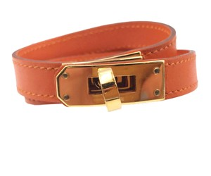 Hermès Hermes Orange Double Tour Gold Plated Turnlock Bracelet