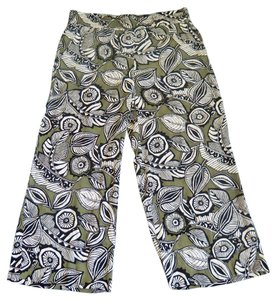 Ann Taylor LOFT Cropped Vacation Wear Wide Leg Pants Tropical print - soft green, black and white