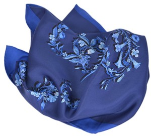 Gucci New Gucci Women's 394545 Sapphire Blue GG Floral Print Silk Scarf