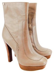 Calvin Klein Platform Stacked Heel Mid Calf Mid Shalft Leather Mink Taupe Boots