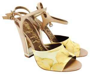 Sam Edelman Flower Print Odetta Chunky Heel Ankle Strap Fabric Yellow and Natural Sandals