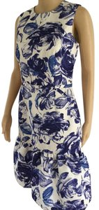 Teri Jon Floral Print Ruffle Hem Sleeveless Dress