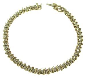 Other Snake Chained Diamond Tennis Bracelet- 10k Yellow Gold