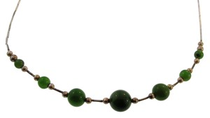 Other Jade and Bugle Beaded Vintage Necklace- Sterling Silver