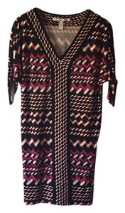 Diane von Furstenberg short dress pink and black on Tradesy