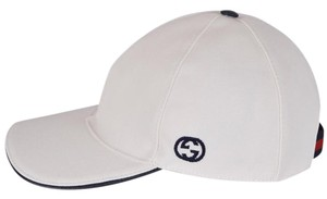 Gucci NEW Gucci Men's 387554 White Canvas Interlocking GG Web Baseball Cap M