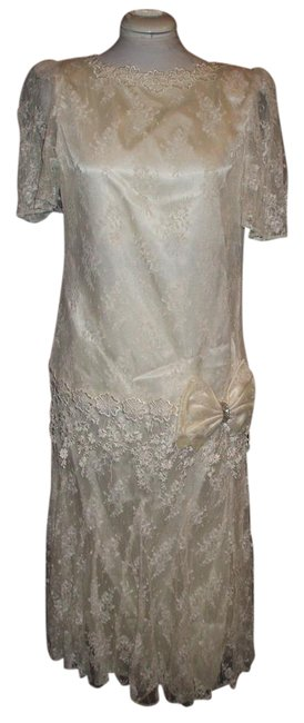 Ivory Flapper Lace Wedding Mid-length Formal Dress Size 8 (M) Ivory Flapper Lace Wedding Mid-length Formal Dress Size 8 (M) Image 1
