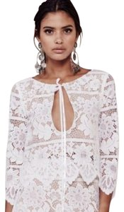 For Love & Lemons Gianna Crop Tie Lace Top WHITE