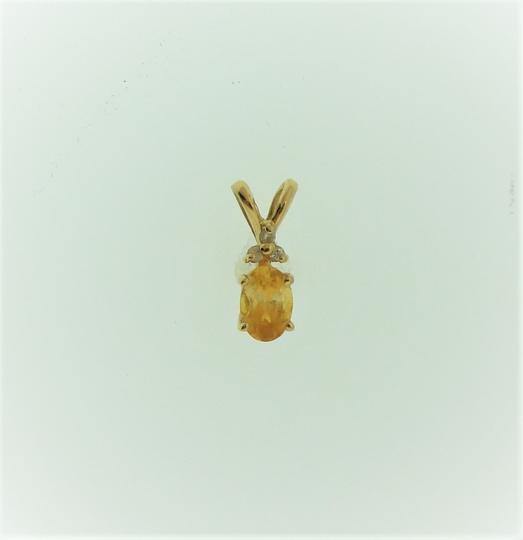 Other Vintage Oval Citrine And Diamond Pendant- 14k Yellow Gold Image 3