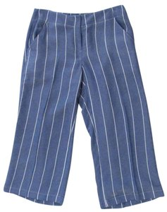 Donna Degan Striped Summer Light Weight Capri/Cropped Pants Blue