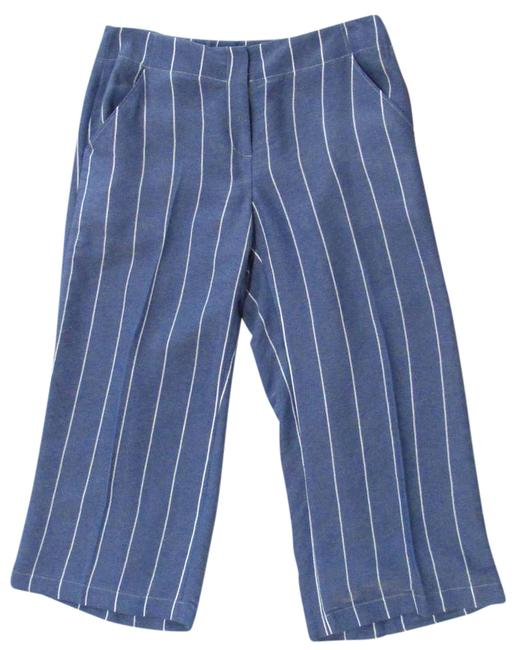 Donna Degan Striped Summer Light Weight Capri/Cropped Pants Blue Image 0