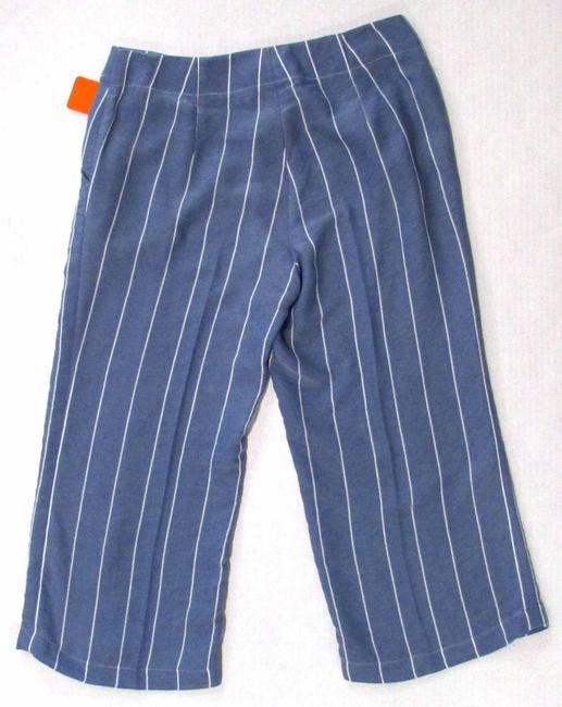 Donna Degan Striped Summer Light Weight Capri/Cropped Pants Blue Image 1