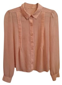 Forever 21 Sheer Button-down Collard Top Blush