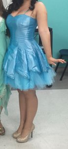 Steppin' Out Sequin Tulle Shiny Blue Dress