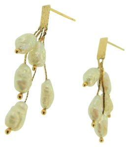 Other Antique Grape Drop Pearl Earrings- 14k Yellow Gold